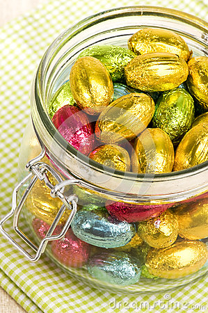 Chocolate easter eggs in a jar