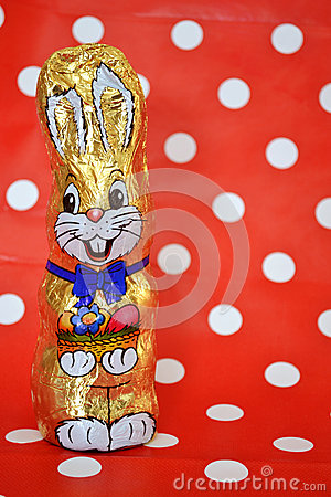 Retro chocolate easter rabbit with polka dots
