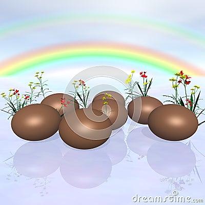 Chocolate Eggs and Rainbow