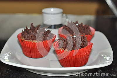 Chocolate Frosted Cupcakes Stock Images - Image: 36699434