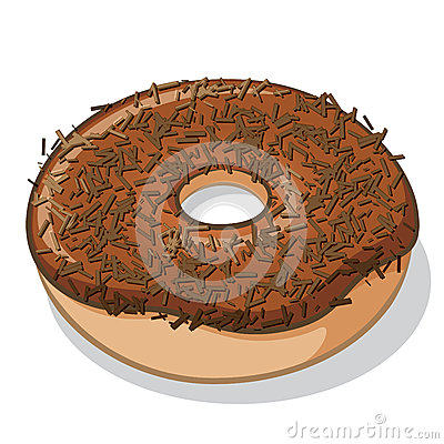 Chocolate Frosted Donut With Sprinkles Stock Vector ...