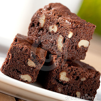Free Chocolate Fudge Brownie With Pecan And Walnuts Stock Image - 12110721