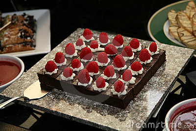 Chocolate Gourmet Dessert with raspberries