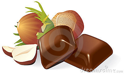 Chocolate and hazelnuts composition