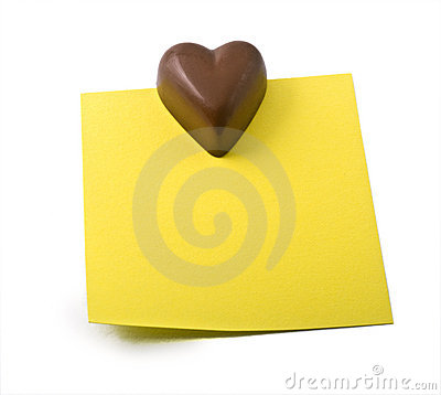 Free Chocolate Heart Note Royalty Free Stock Photography - 7257607