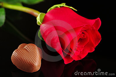 Chocolate Heart with Red Rose
