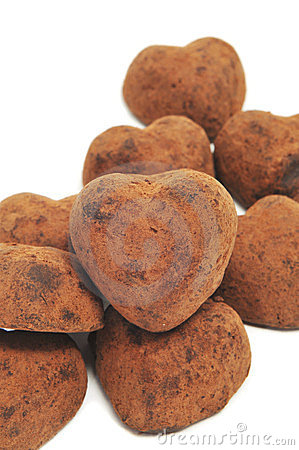 Chocolate heart-shaped bonbons