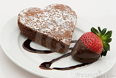 Chocolate Heart Shaped Brownie With Strawberry