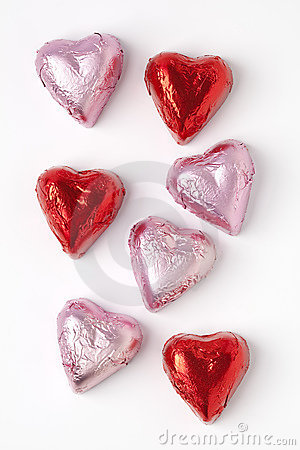 Free Chocolate Hearts In Pink And Red Tinfoil Royalty Free Stock Image - 11325746