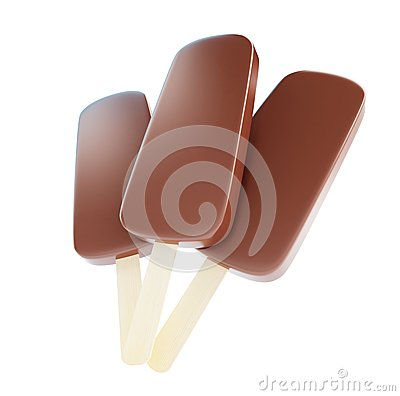Chocolate ice cream on a white background