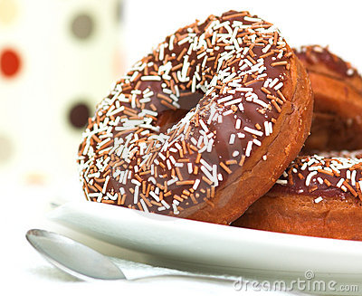 Chocolate Iced Ring Doughnuts
