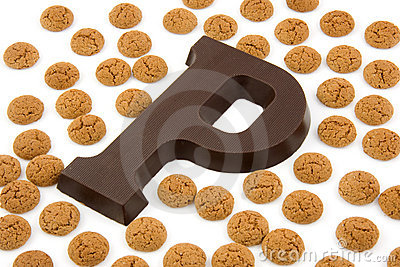 Chocolate letter P and ginger nuts for Sinterklaas