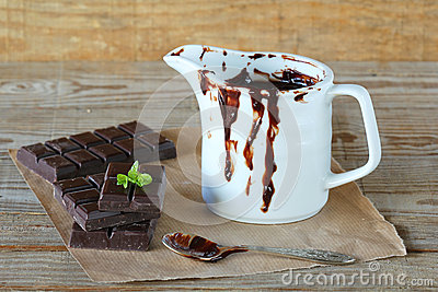 Chocolate and melted chocolate