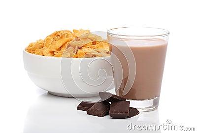 Chocolate milk and cornflakes