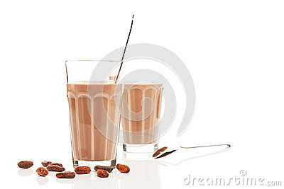 Chocolate milk in front of other chocolate milk