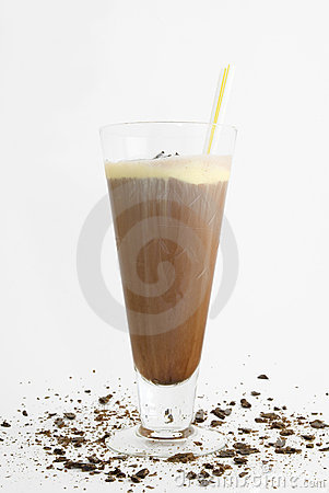 Chocolate milk shake with straws