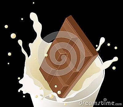 Chocolate in milk splash on black background
