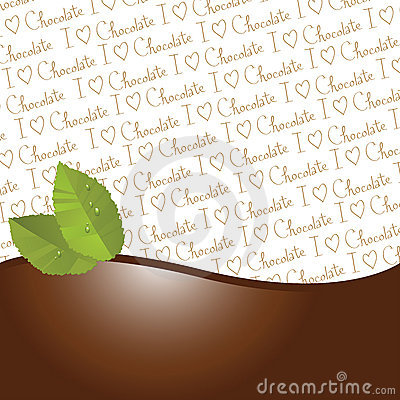 Chocolate and mint leaves border