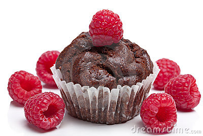 Chocolate muffin with raspberry isolated