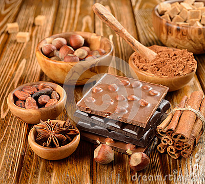 Chocolate, nuts and spices