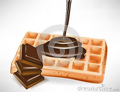 Chocolate over belgian waffle