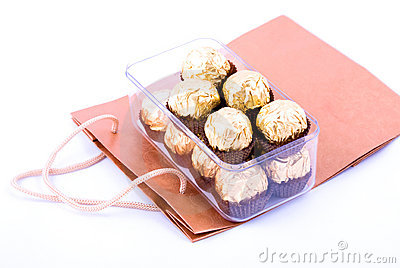 Chocolate package with shopping bag