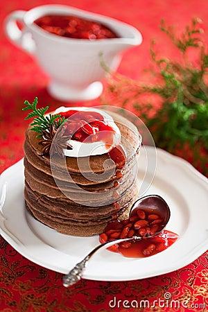 Free Chocolate Pancakes Royalty Free Stock Photography - 28425667