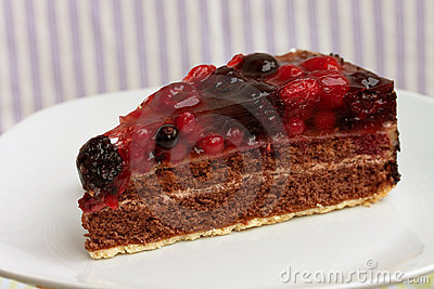 Chocolate pie(Tart) with cream,cherry,raspberry, a