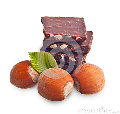 Chocolate pieces with hazelnuts