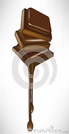 Chocolate pieces melting