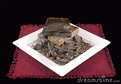 Chocolate Pile on White Plate and Burgandy Napkin