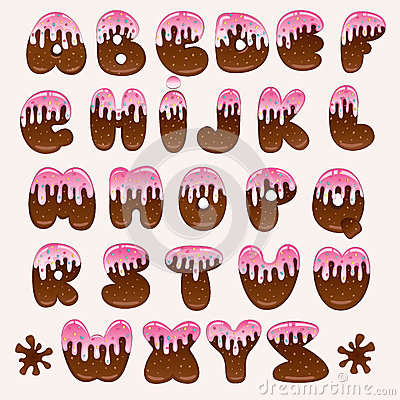 Chocolate pink alphabet