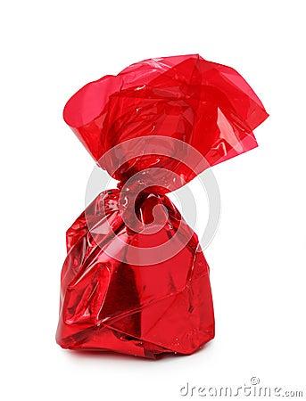 Chocolate praline in foil