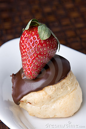 Chocolate Profiterol And Strawberry Dessert