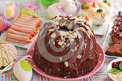 Chocolate ring cake with almonds and nuts for easter