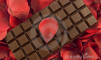 Chocolate with rose petals