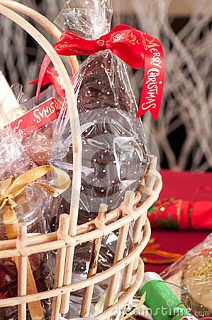 Free Chocolate Santa In A Gift Basket Close-up Stock Photo - 33959260