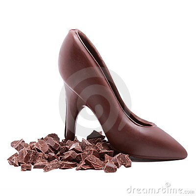 Chocolate shoe and chocolate slices