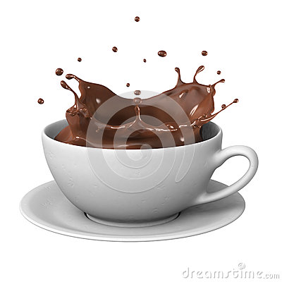 Chocolate splash in cup