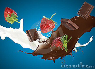 Chocolate and Strawberry falls into milk