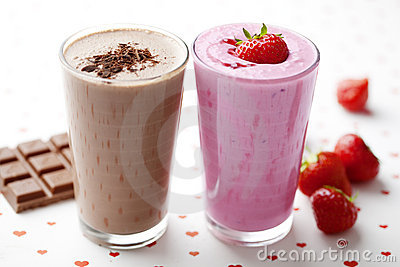 Chocolate And Strawberry Milkshake Stock Photo - Image ...