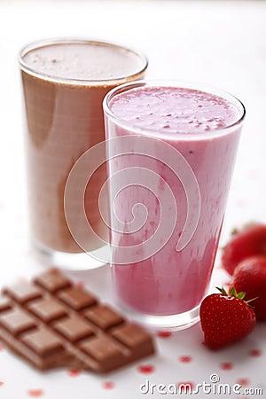 Chocolate and strawberry milkshake