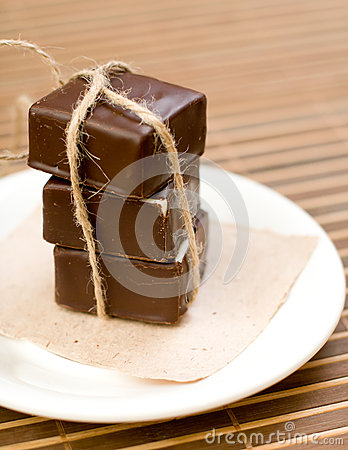 Free Chocolate Sweets On The Dish Stock Image - 47349591