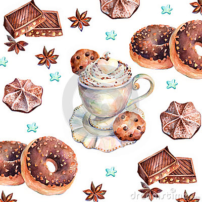 Free Chocolate Sweets. Watercolors Painting. Royalty Free Stock Photo - 49617275
