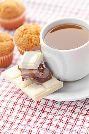 Chocolate,tea and muffin on plaid fabric