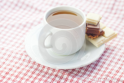 Chocolate and tea on plaid fabric