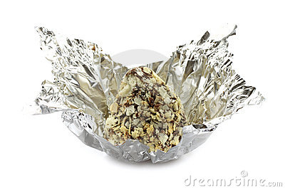 Chocolate truffle in candy wrapper