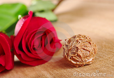Chocolate Truffle with Red Roses
