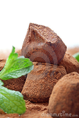 Free Chocolate Truffle With Fresh Mint Royalty Free Stock Photography - 22650827