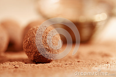 Chocolate truffles cocoa powder dusted and sieve